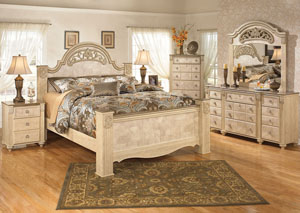 Saveaha King Poster Bed, Dresser, Mirror, Chest & 3 Drawer Night Stand