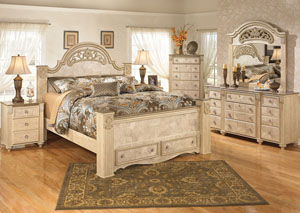Saveaha King Poster Storage Bed, Dresser, Mirror, Chest & 3 Drawer Night Stand
