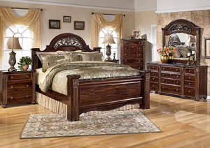 Gabriela Queen Poster Bed w/ Dresser, Mirror & Night Stand