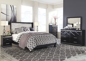 Fancee Queen Panel Bed w/ Dresser and Mirror
