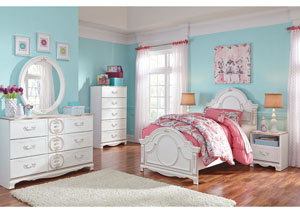 Korabella White Twin Panel Bed, Dresser, Mirror, Chest & Night Stand,Signature Design by Ashley