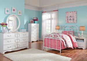 Korabella White Twin Metal Bed, Dresser, Mirror, Chest & Night Stand