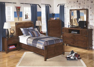 Delburne Twin Panel Bed w/ Dresser, Mirror & Chest