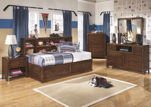 Delburne Full Storage Captains Bed w/ Dresser & Mirror