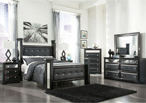 Alamadyre Queen Upholstered Poster Bed, Dresser, Mirror & Chest