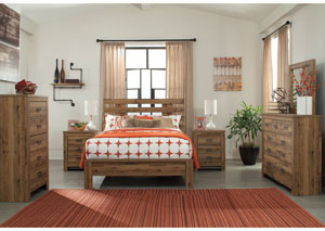 Cinrey Medium Brown Queen Panel Bed w/ Dresser and Mirror,Signature Design by Ashley