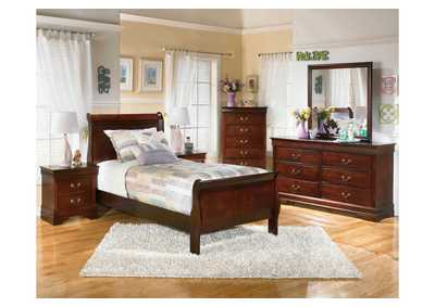 Alisdair Twin Sleigh Bed, Dresser, Mirror, Chest & Night Stand