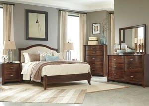 Corraya Medium Brown King Upholstered Panel Headboard, Dresser, Mirror, Chest & Nightstand