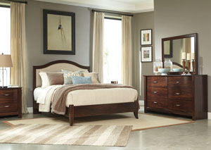 Corraya Medium Brown Queen Upholstered Panel Bed, Dresser, Mirror & Nightstand