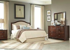 Corraya Medium Brown Queen Upholstered Panel Headboard, Dresser & Mirror