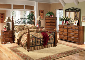 Wyatt Queen Poster Bed, Dresser, Mirror & Chest,Signature Design by Ashley