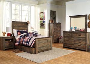 Trinell Brown Twin Panel Storage Bed, Dresser & Mirror