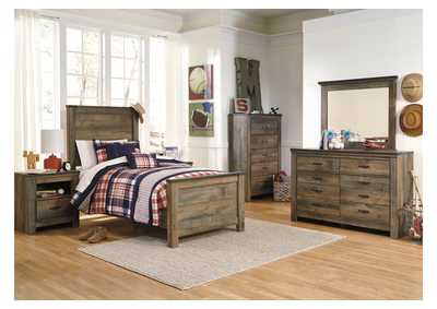 Trinell Brown Twin Panel Bed, Dresser, Mirror, Chest &  Night Stand