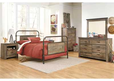 Trinell Brown Twin Metal Bed, Dresser & Mirror
