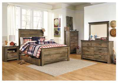 Trinell Brown Full Panel Storage Bed, Dresser, Mirror & Chest,Signature Design by Ashley