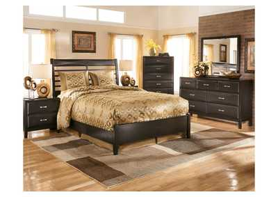 Kira Black King Panel Bed, Dresser, Mirror, Chest & Nightstand,Ashley