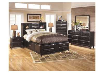 Kira Black California King Storage Bed, Dresser & Mirror,Ashley