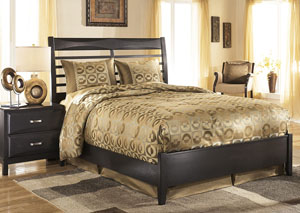 Kira Black Queen Panel Bed,Ashley