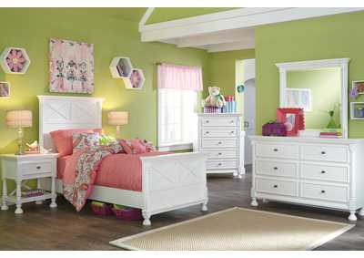 Kaslyn Twin Panel Bed, Dresser & Mirror
