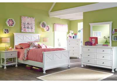 Kaslyn Full Panel Bed, Dresser, Mirror, Chest & 2 Night Stands