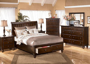 Camdyn Queen Sleigh Bed w/ Storage, Dresser, Mirror & Chest