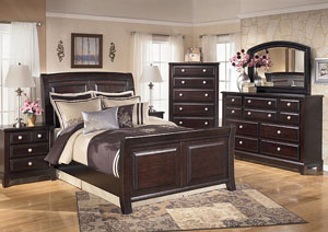 Ridgley Queen Sleigh Bed, Dresser, Mirror & 2 Night Stands,Signature Design by Ashley