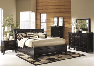 Martini Suite Queen Storage Bed, Dresser & Mirror