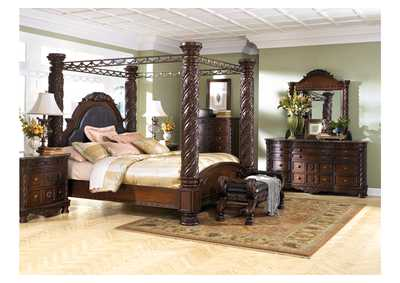 North Shore King Poster Bed, Dresser, Mirror, Chest & Night Stand,Millennium