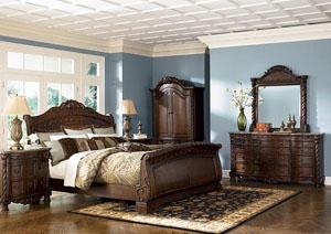 North Shore Queen Sleigh Bed, Dresser, Mirror & Armoire