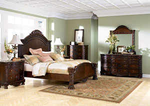 North Shore Queen Panel Bed, Dresser, Mirror & Chest