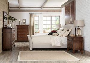Burkesville Queen Upholstered Sleigh Bed, Dresser & Mirror