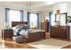 Ladiville Full Panel Bed, Dresser, Mirror, Chest & 2 Night Stands