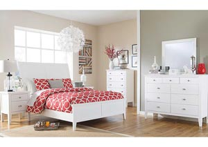 Langlor Queen Sleigh Bed, Dresser, Mirror & Night Stand