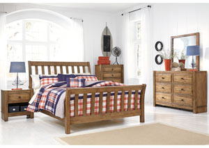 Birnalla Full Panel Bed, Dresser, Mirror & Dressing Chest