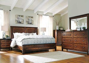Dawlyn Queen Panel Bed, Dresser, Mirror, Chest & Night Stand
