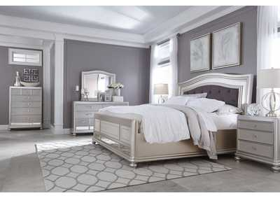 Coralayne Silver Queen Upholstered Bed w/ Dresser, Mirror and Nightstand,Signature Design by Ashley