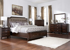 Larimer Queen Storage Bed, Dresser, Mirror, Chest & Night Stand