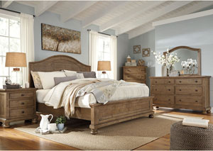 Trishley Light Brown Queen Panel Bed w/Dresser, Mirror, Drawer Chest and Nightstand,Signature Design by Ashley