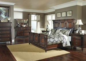 Key Town Queen Mansion Panel Bed, Dresser & Mirror