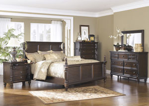 Key Town Queen Poster Bed, Dresser, Mirror, Chest & Three-Drawer Night Stand