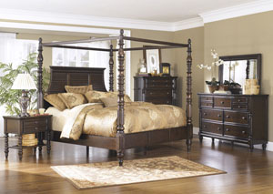 Key Town Queen Poster Bed, Dresser, Mirror & Chest