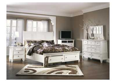 Prentice Queen Storage Sleigh Bed, Dresser, Mirror, Chest & Night Stand,Millennium