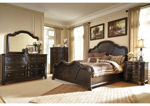 Shardinelle King Panel Bed, Dresser, Mirror, Chest & Night Stand