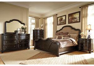 Shardinelle Queen Upholstered Bed, Dresser, Mirror & Chest