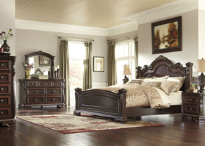 Wendlowe Queen Poster Bed, Dresser & Mirror