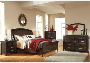 Lanquist Queen Sleigh Bed, Dresser, Mirror & Chest