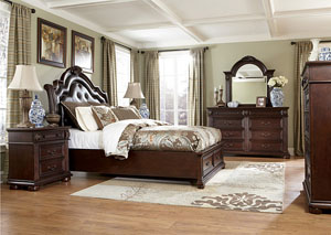 Caprivi California King Storage Bed, Dresser & Mirror
