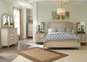 Demarlos King Upholstered Panel Bed, Dresser & Mirror