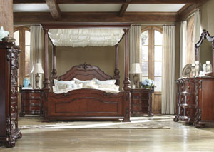 Martanny Queen Canopy Bed, Dresser, Mirror & Chest