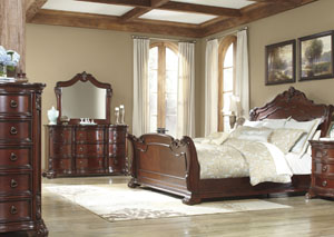 Martanny Queen Sleigh Bed, Dresser & Mirror